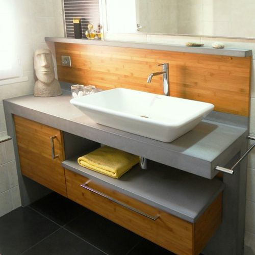 Saturne meuble b ton cir atlantic bain for Salle de bain wibbo