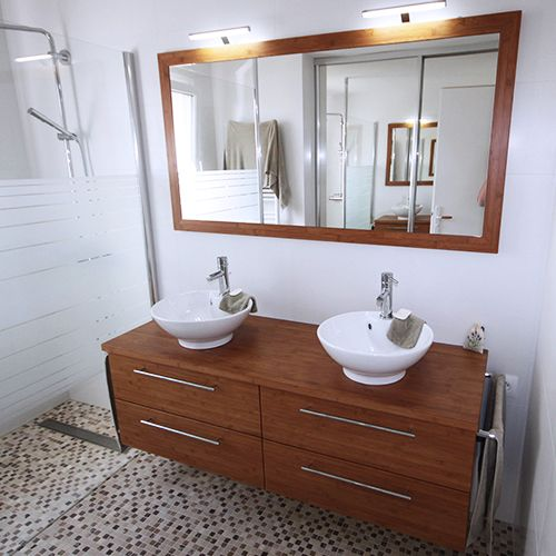 Vasques a poser atlantic bain for Meuble de salle de bain bambou