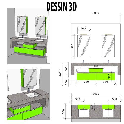 dessin 3d de meubles en béton ciré