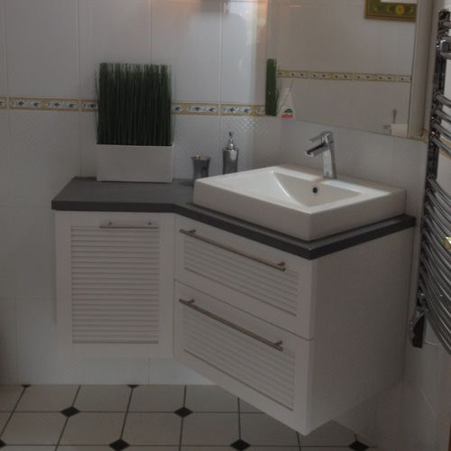 Meuble plan en b ton cir atlantic bain for Meuble salle de bain but