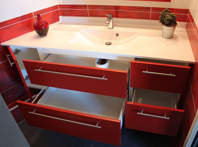 Meuble entre murs avec un angle 135 atlantic bain - Grand meuble salle de bain ...