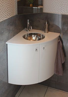 Meuble lave mains d 39 angle 50 x 50 cm atlantic bain - Meuble lave main d angle wc ...