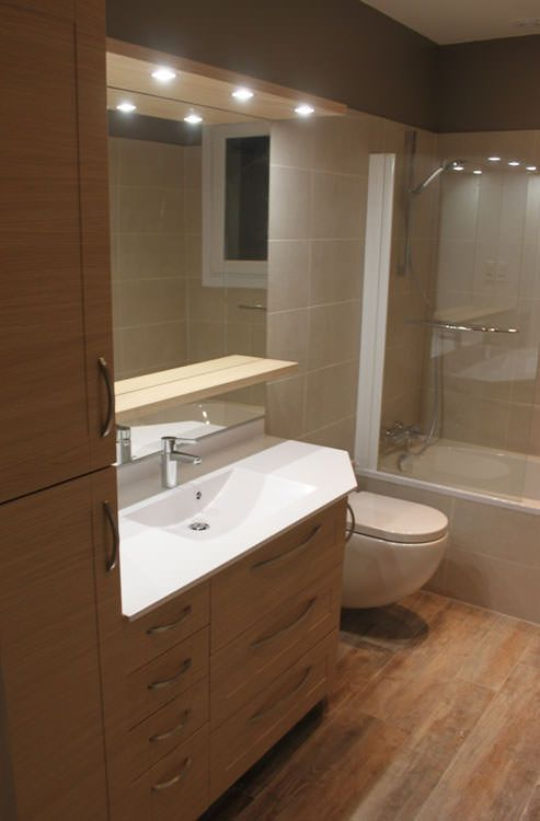 Meuble de salle de bains avec pan coup atlantic bain - Meuble petite salle de bain ...