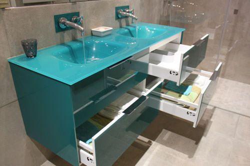 Meuble salle de bain bleu - Vasque bleue salle de bain ...