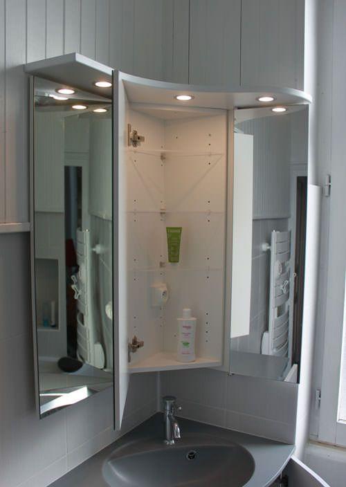 Meuble d 39 angle pour une petite salle de bain atlantic bain - Miroir d angle pour salle de bain ...