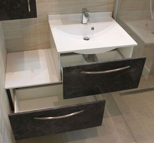 Meuble d cal de 100 cm pour une petite salle de bains for Petit meuble tiroir salle de bain