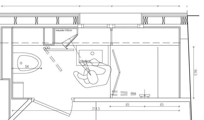 Un meuble id al pour une salle de bains troite atlantic bain for Plan de petite salle de bain