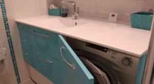 Agencement d 39 une salle de bain avec un lave linge - Meuble salle de bain avec lave linge integre ...