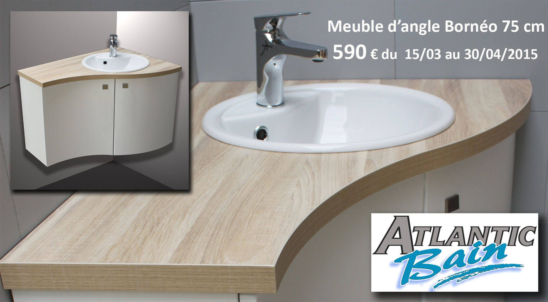 offre sp ciale printemps meuble salle de bains d 39 angle 590 ttc atlantic bain. Black Bedroom Furniture Sets. Home Design Ideas