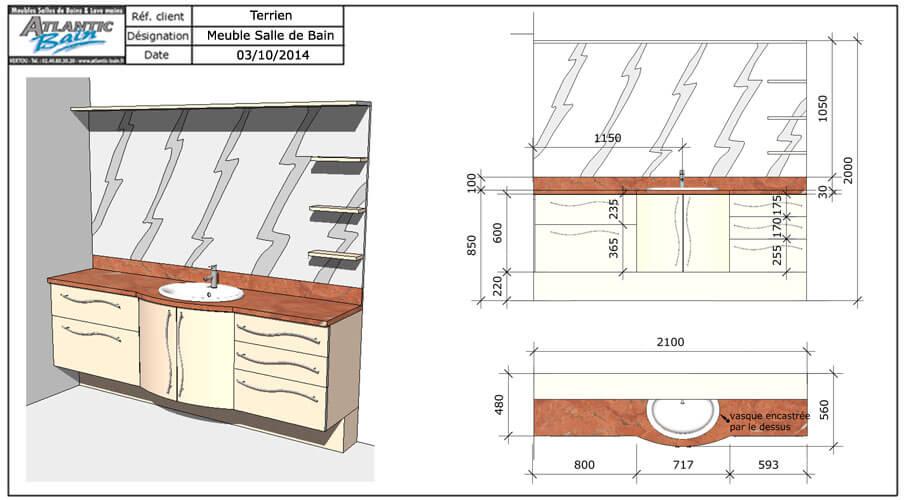 Agencement d 39 une grande salle de bain avec un plan granit - Faire un plan de salle de bain ...