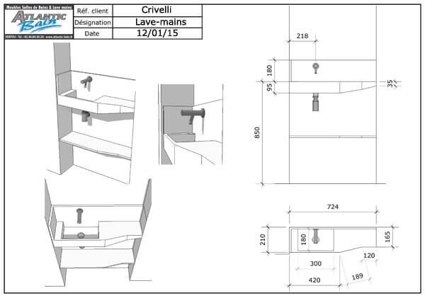 les plans de toilette solid surface sur mesure. Black Bedroom Furniture Sets. Home Design Ideas