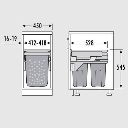 paniers linge coulissant 2 bacs 45 atlantic bain. Black Bedroom Furniture Sets. Home Design Ideas