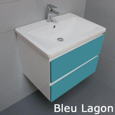 Meuble salle de bain bleu lagon