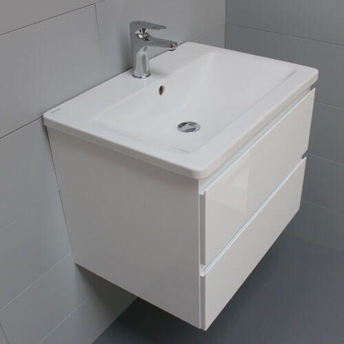 Meuble look 63 2 tiroirs et vasque c ramique atlantic bain - Meuble 60 cm largeur ...