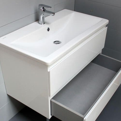Meuble look 83 2 tiroirs et vasque c ramique atlantic bain - Petite poubelle de salle de bain ...