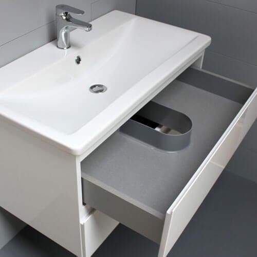 Meuble look 83 2 tiroirs et vasque c ramique atlantic bain - Meuble salle de bain 40 cm ...
