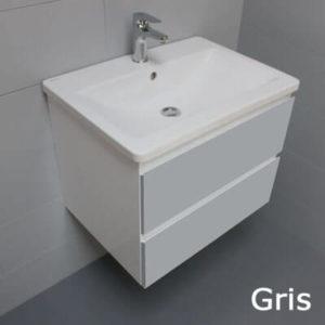 Meuble look 83 2 tiroirs et vasque c ramique atlantic bain - Petit meuble gris ...