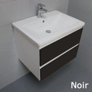 Meuble look 83 2 tiroirs et vasque c ramique atlantic bain - Petit meuble noir ...
