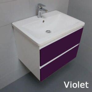 Meuble look 63 2 tiroirs et vasque c ramique atlantic bain - Meuble salle de bain violet ...