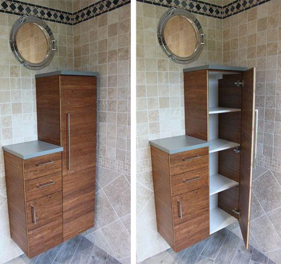 Du bambou et du b ton cir pour ce meuble double vasques for Mesure salle de bain