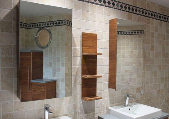 Du bambou et du b ton cir pour ce meuble double vasques for Miroir salle de bain bambou