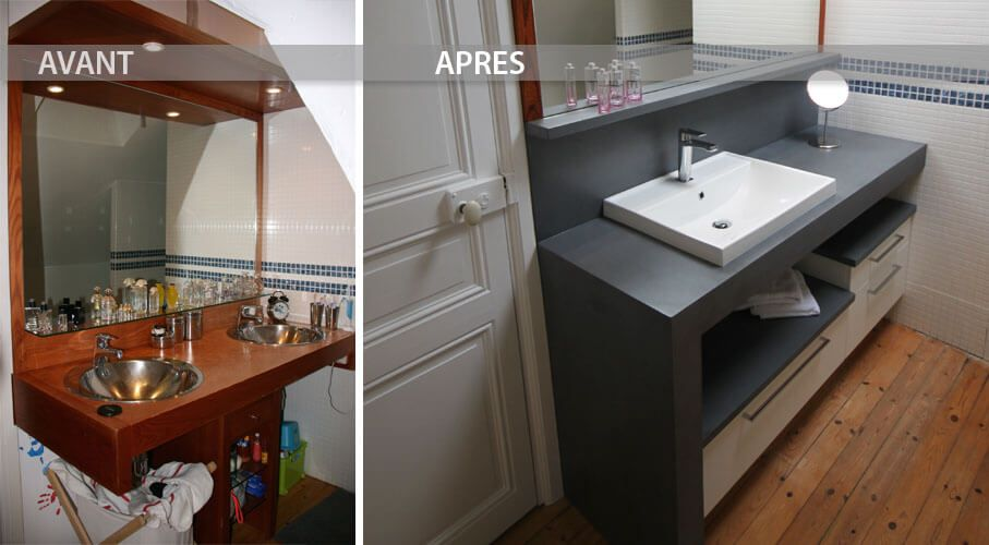 Avant et apr s r novation du meuble de la salle de bain for Salle de bain home staging