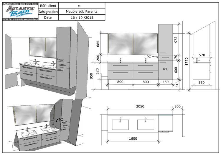 Meuble double vasque sous rampant avec panier linge for Dimension meuble salle de bain