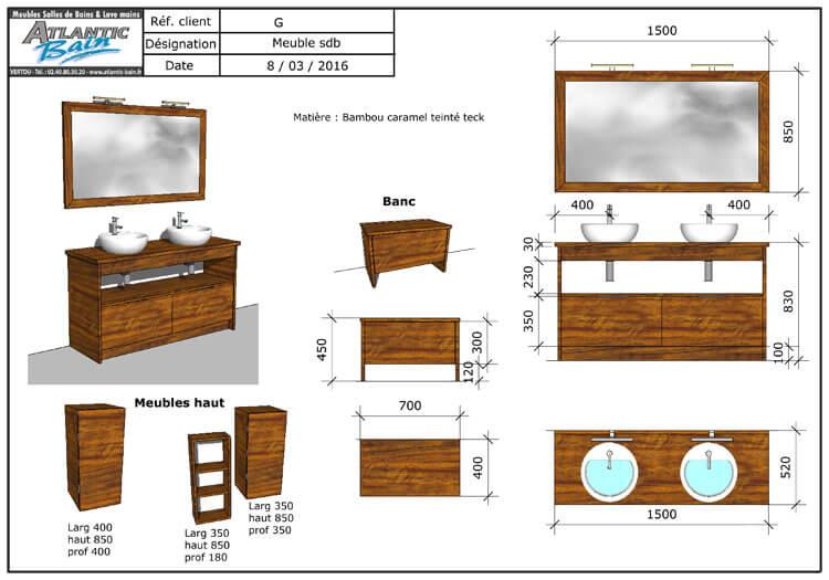 Am nagement d 39 une salle de bain avec des meubles en bois massif atlantic bain for Plan salle de bains d
