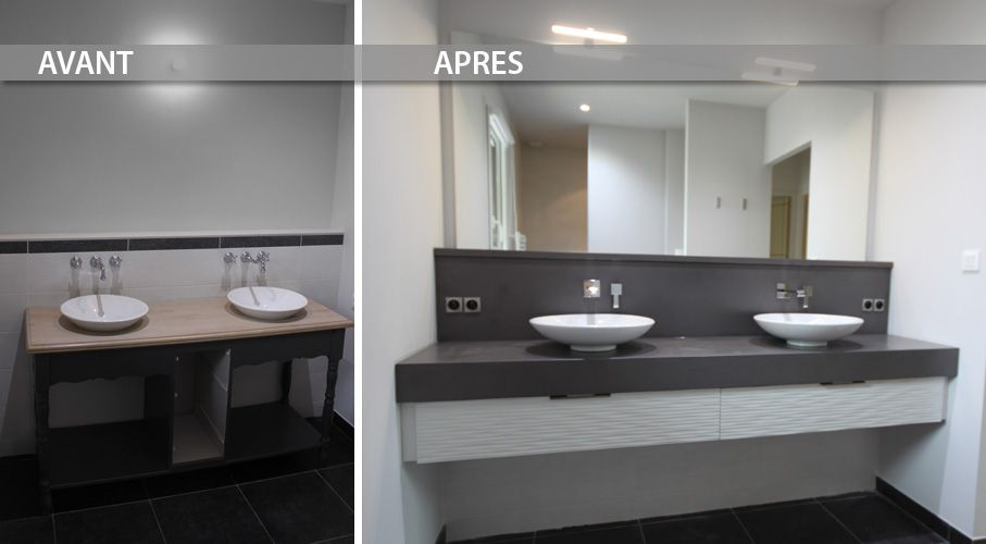 R novation avec un grand meuble design en b ton cir entre for Mur salle de bain beton cire