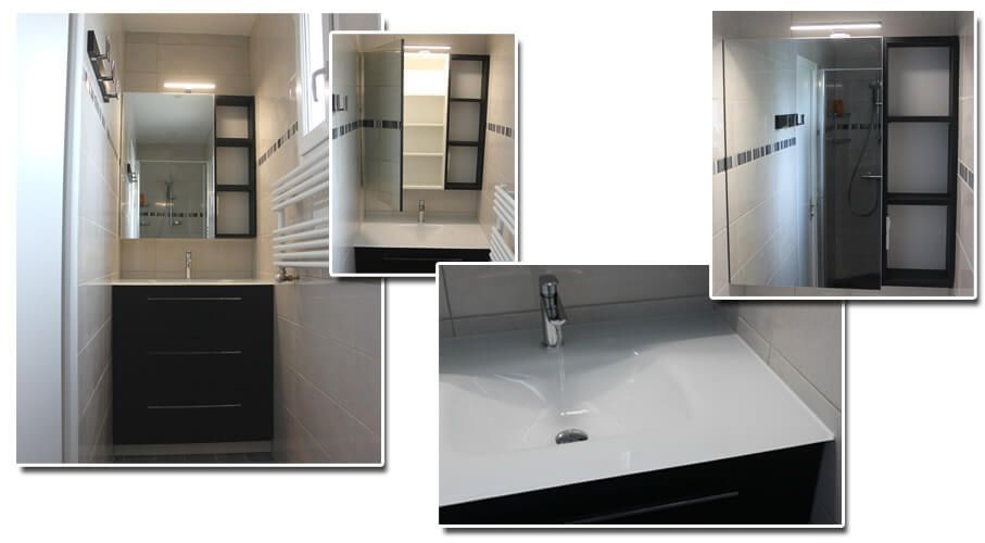 Petite salle d 39 eau en couloir quip e d 39 un meuble entre - Petite poubelle salle de bain ...