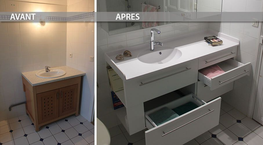 Comment revaloriser une salle de bain en changeant le meuble vasque atlan - Location meuble home staging ...