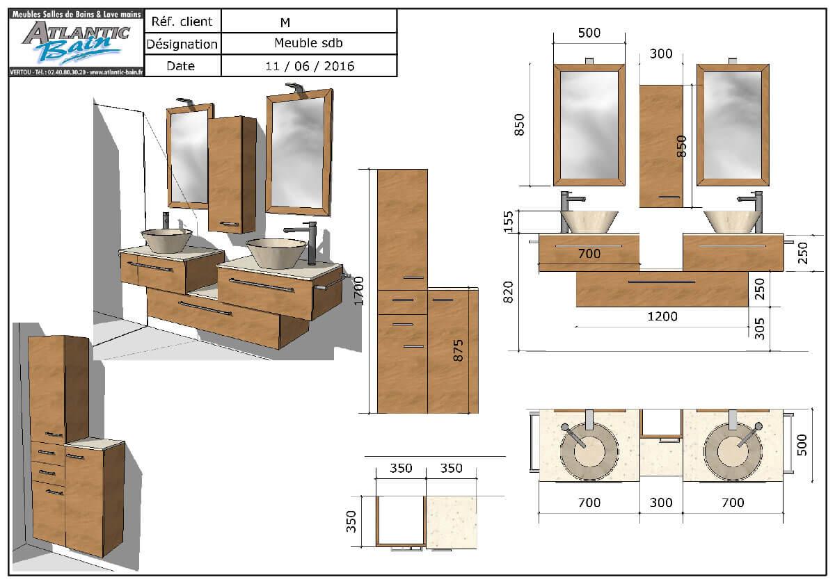 Lavabo en pierre naturelle et meuble sur mesure en d cal for Colonne de salle de bain sur mesure