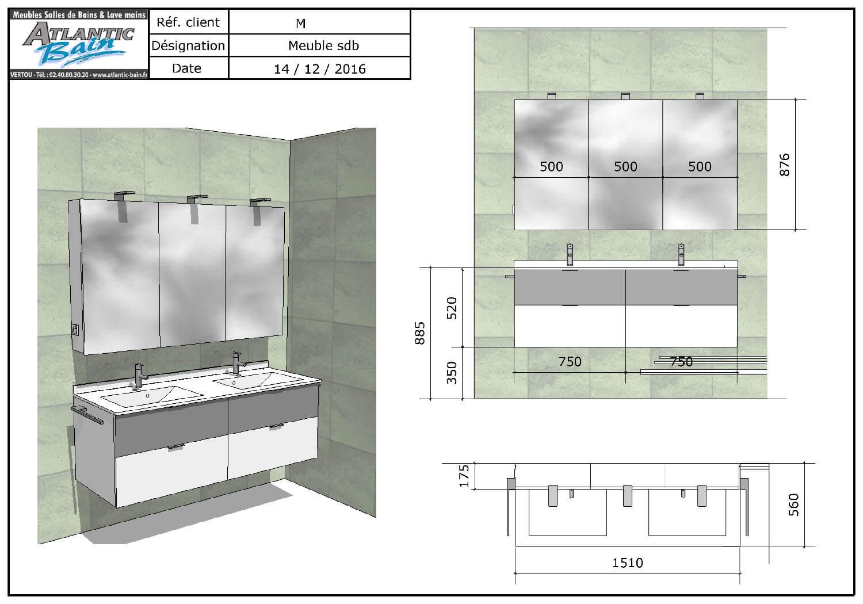 R novation avec un meuble suspendu blanc et gris alu for Porte meuble salle de bain sur mesure