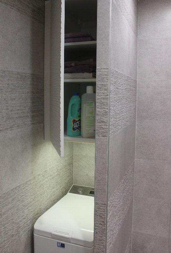 Une salle de bains de 4 m avec un meuble en d cal et un lave linge atlantic bain - Machine a laver dans salle de bain ...
