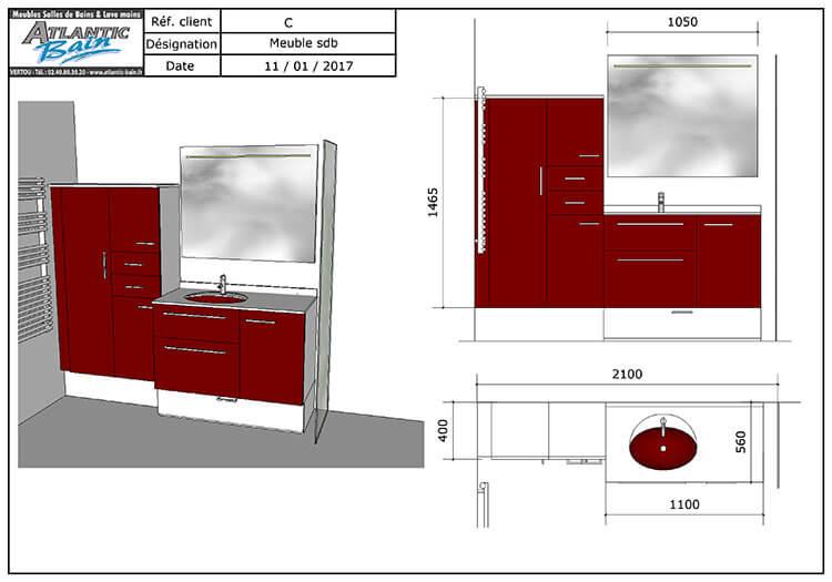 Un meuble rouge et blanc pour une tr s petite salle de for Meuble salle de bain petit prix