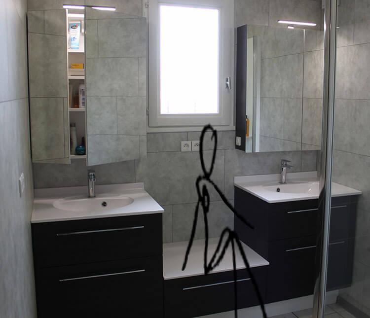 Un meuble en d cal sur mesure autour d 39 une fen tre - Banc salle de bain ...
