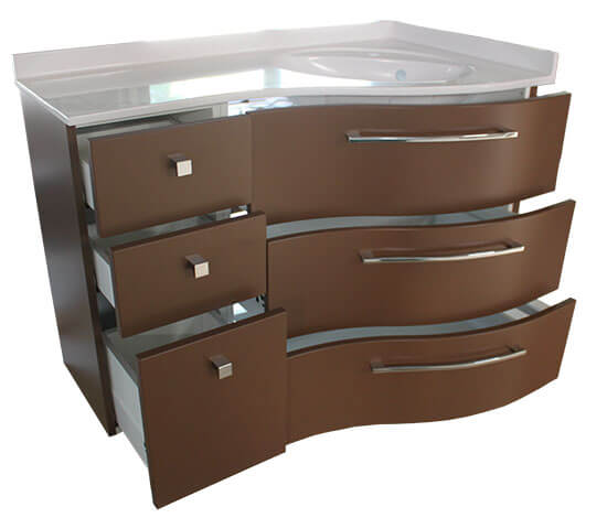 Un meuble d 39 angle couleur chocolat atlantic bain for Salle de bain blanc et chocolat