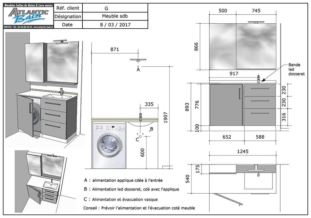 Un meuble sur mesure avec une machine laver int gr - Lave linge dans salle de bain ...