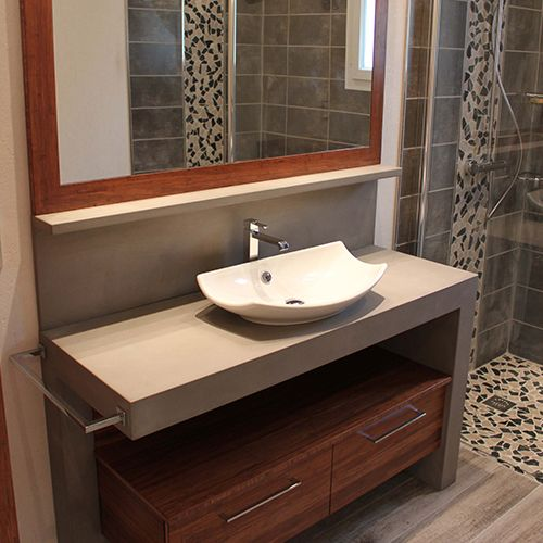 Best salle de bain beton beige photos awesome interior Meuble salle de bain beige