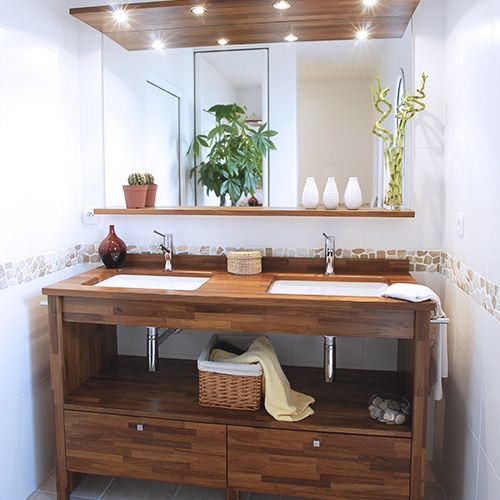 Best meuble salle de bain bois brut pictures amazing for Meuble zen home
