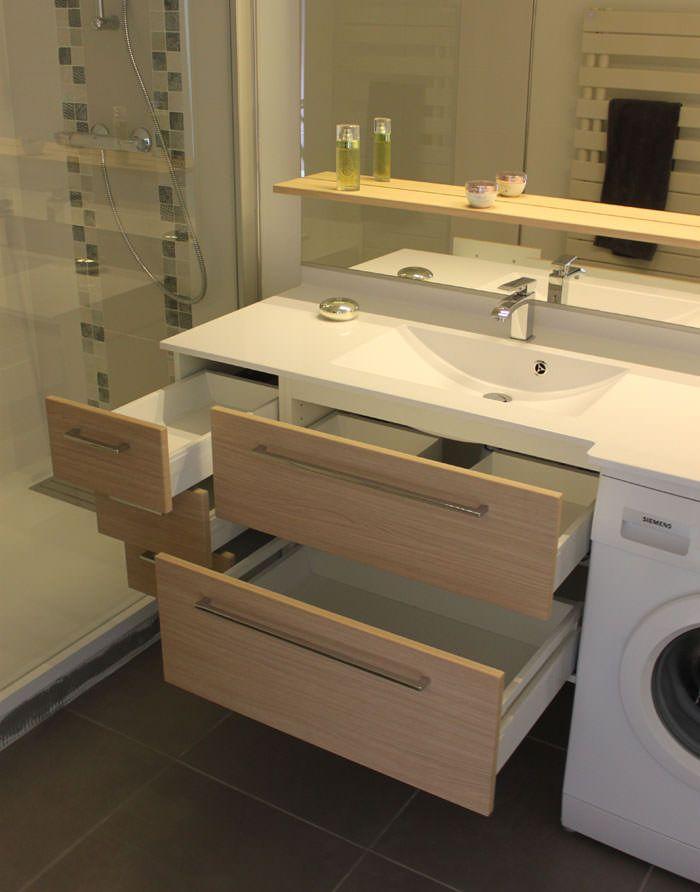 Meuble de salle de bain sur mesure avec machine laver for Agencement de salle de bain
