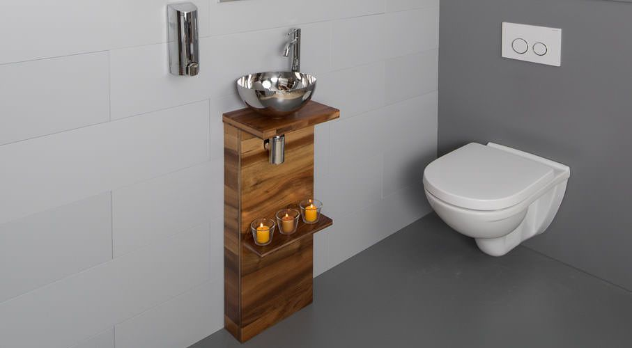 Nouveau lave mains texto en bois massif atlantic bain for Meuble lave main toilette