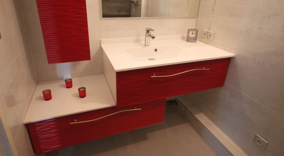 Elegant Meuble De Belle Salle Bain Dcl Rouge With Element