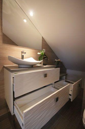 idée beau meuble de salle de bain sou rampant