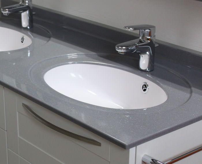 meuble suspendu double vasque en solid surface. Black Bedroom Furniture Sets. Home Design Ideas