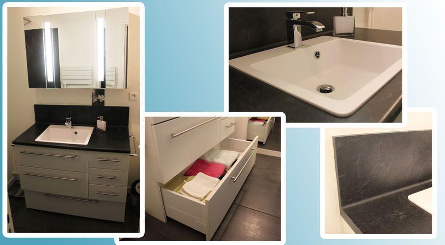 Petit meuble de salle de bain sur mesure fonctionnel for Tres petite salle de bain