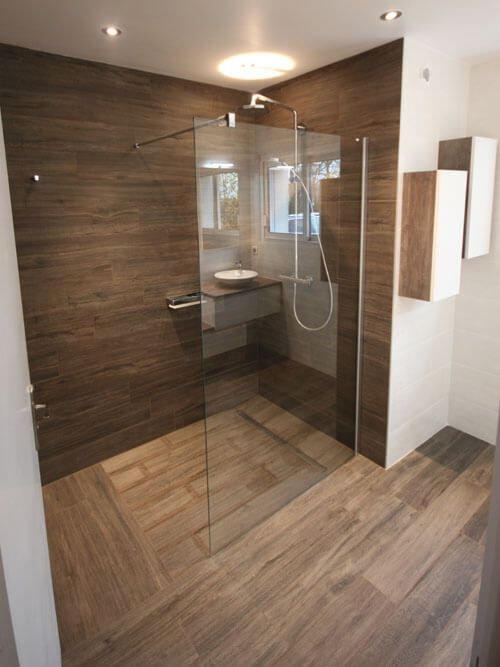 Meuble double vasques d cal entre mur atlantic bain for Salle de bain douche italienne double vasque
