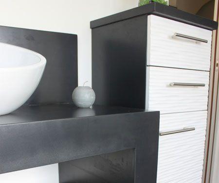 r novation d 39 une salle de bains avec un meuble en b ton cir atlantic bain. Black Bedroom Furniture Sets. Home Design Ideas