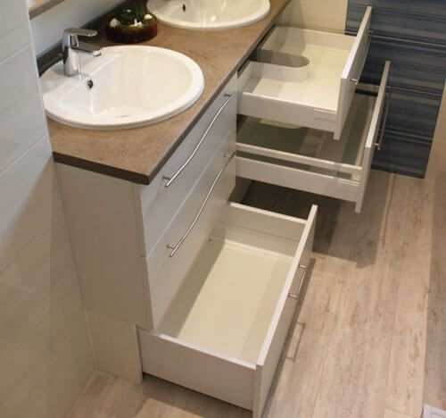 Meuble de 138 cm double vasque entre murs atlantic bain - Rangement entre deux meubles ...