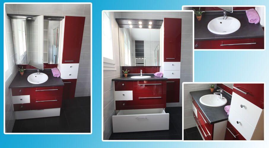 Meuble tr s fonctionnel de 125 cm seulement atlantic bain for Salle de bain rouge et blanc